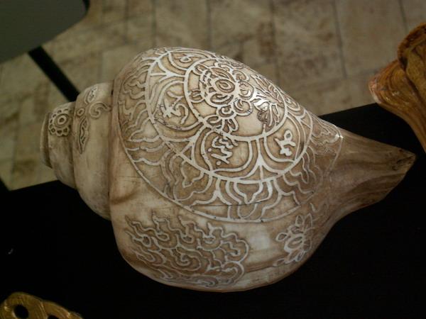 Oryginalna, grawerowana Turbinella pyrum. Ten ciekawy okaz można było nabyć na wystawie muszli w Pradze w 2004 roku.