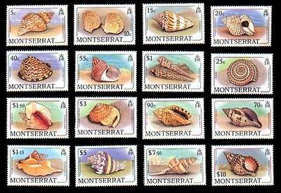 Reprezentacja ślimaczych rodzin na znaczku z Montserrat, 1988.