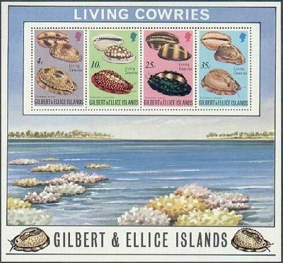 Porcelanki z Wysp Gilberta. Ciekawy bloczek z 1995 roku.