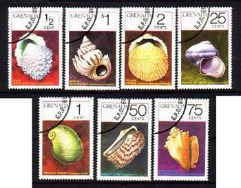 """Używany, pocztowy zestaw """"muszlowych znaczków"""" z Grenady."""