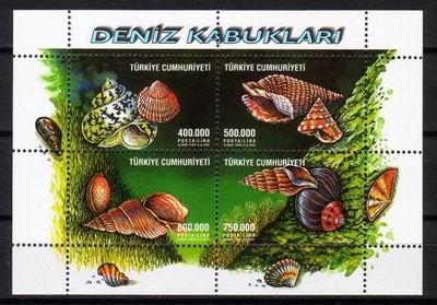 Bardzo efektowna kompozycja mięczaków morskich na tureckich znaczkach z 2003 roku.