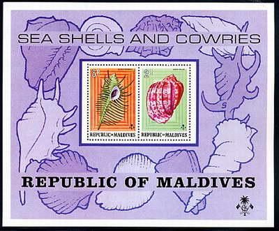 Dość rzadka kombinacja plastyczna na znaczkach z Malediwów.