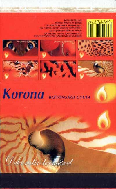 Nautilus na węgierskiej etykiecie z serii: ?Decorative nature?. Korona Biztonsagi giufa, 1997 rok; 178x110 mm.