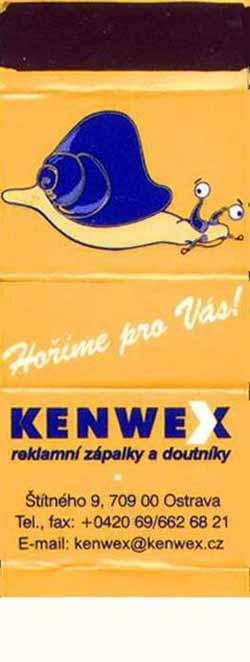 Czeskie ?mini-matches? z serii: ?Snail?. Kenwex Ostrava, 2002 rok; 61x23 mm.