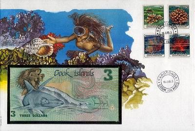 Wyjątkowy okaz kolekcjonerski z Wysp Cooka /1989/. Połączenie urokliwej koperty z trzydolarówką.