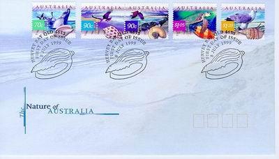 Australia, 1999. Pamiątkowa koperta z cudami australijskiej przyrody.