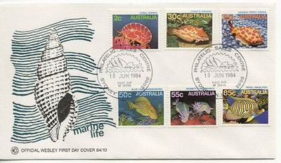 "Australijska koperta ""marine life"" z 1984 roku."