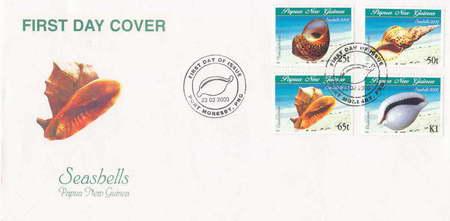 Cassis cornuta na okolicznościowej kopercie z Papui Nowej Gwinei, 2000.