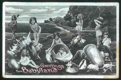 ?Muszlowy plac zabaw? na londyńskiej kartce z 1908 roku.