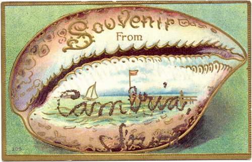 Cypraea tigris jako tło dla wakacyjnych pozdrowień z Cambrii, Iowa 1906 rok.