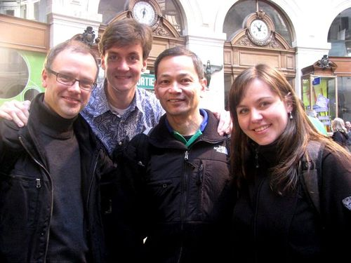 Spotkanie znajomych. Od lewej: M. Keppens, F. Govaert, R. Lutan i Pani Gosia
